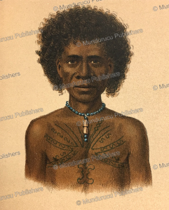 papua of dorey harbour with decorative tattoos (pa), papua new guinea, f. w. van der waarde, 1893