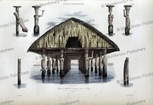 front view of a taboo house in dorey harbour, new guinea, louis auguste de sainson, 1834