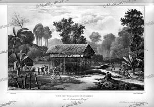 View of D'Ai¨ambo village, New Guinea, Louis Auguste de Sainson, 1834 | Photos and Images | Travel