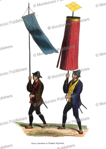 japanese ensign carrying a standard, and umbrella bearer, decreef, 1843