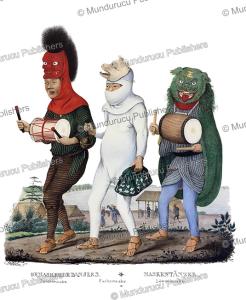 masked dancers, japan, j. erxleben, 1832