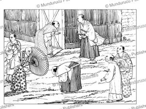ritual for greeting, japan, voyage au japan, von siebold, 1825