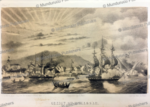 view on makassar, celebes, c. van der hart, 1853