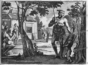 warrior of malabares (celebes) in 1636, jean-albert de mandelslo, 1732