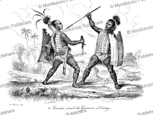 simulated duel on ombai, now alor near timor, louis auguste de sainson, 1839
