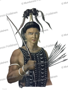 warrior from ombai, now alor near timor, jacques arago, 1820