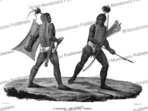 warriors from ombai, now alor near timor, jacques etienne victor arago, 1820