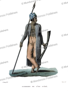 warrior of gue´be´, moluccas, jacques arago, 1839