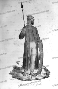 warrior of gue´be´, moluccas, mangioni, 1840