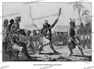 buru warriors performing a war-dance, moluccas, victor marie felix danvin, 1836