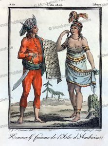 man and woman of the island ambon, moluccas, grasset saint-sauveur, 1795.