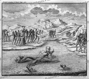 village head of ternate executed by the dogs in 1529, moluccas, g. schoute, 1724