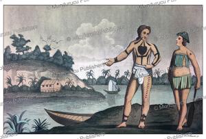 natives of the poggy or nassau island (pagai), mentawai, k. bonatti, 1827