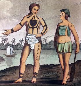 natives of the poggy or nassau islands (pagai), mentawai, k. bonatti, 1827