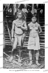 Young couple with tattoos of North Pagai Island, Mentawai, C.M. Pleyte, 1901 | Photos and Images | Travel