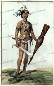 mentawai warrior, watercolor by c.b.h. von rosenberg, 1847