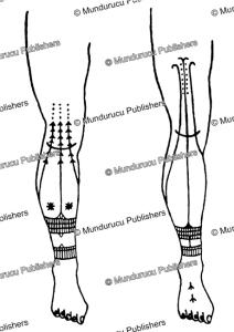 tattoo leg patterns for mentawai women, j.a. van beukering, 1940