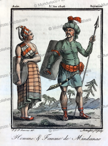 man and woman of mindanao, philippines, grasset saint-sauveur, 1795