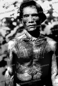 tattooed igorot man, philippines, 1961