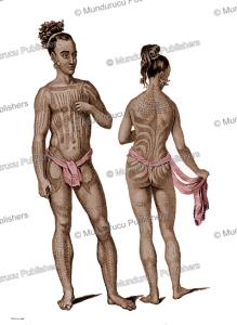man and woman of fais island, yap, victor marie felix danvin, 1828