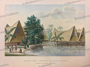 Native houses on Kosrae, Chazal and Lejeune, 1823 | Photos and Images | Travel