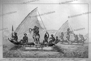Canoes of Pohnpei with dancing women, Victor Marie Felix Danvin, 1836 | Photos and Images | Travel