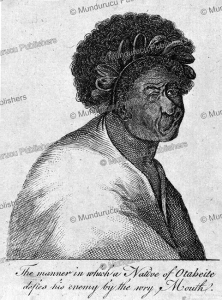 facial expression of a tahitian man to defy his enemy, sydney parkinson, 1773
