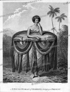 young woman of tahiti bringing a present, john webber, 1784