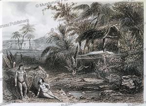 tahiti island, colliginon, 1840