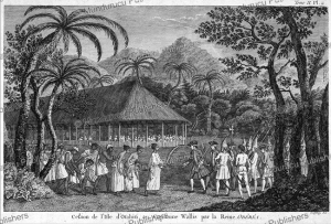 Captain Wallis received by the Queen of Tahiti, Johann Christian Gottfried Fritzsch, 1767 | Photos and Images | Travel