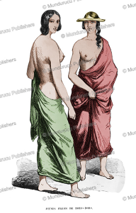 tahitian girls from bora bora, euge`ne delessert, 1848