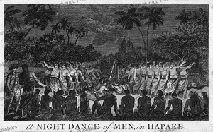 night dance by men in hapaee, tonga, after john webber, 1790