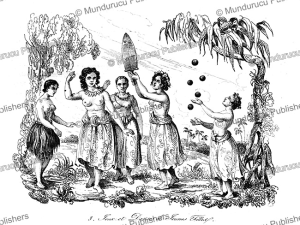 play and dance by young women of tonga, after louis auguste de sainson, 1834