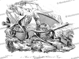 weapons and utensils of tonga, louis auguste de sainson, 1834