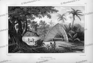 view of an hangar, tonga, louis auguste de sainson, 1835