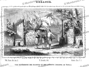 houses and gardens on tonga, l. huard, 1834