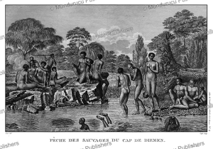 natives of tasmania fishing and relaxing, jean piron, 1791