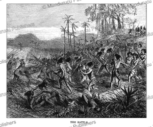a battle on mangaia, cook islands, johann baptist zwecker, 1870