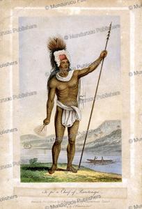 pa te pou ariki, chief of the takitumu tribe, rarotonga, g. baxter, 1837