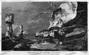 monuments in easter island, william hodges, 1777