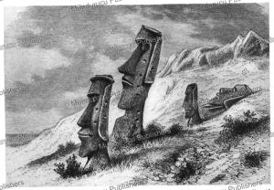 monumental statues inside the rano raraku crater, pinart, 1877