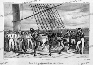 hopping dance (hagana) of the natives of easter island, masselot, 1835
