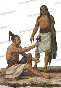 Tattooed warriors from Rotouma, Fiji, Lejeune and Chazal, 1826 | Photos and Images | Travel