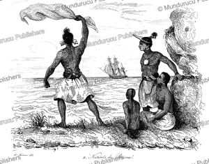 natives calling attention of a passing vessel, rotuma, fiji, louis auguste de sainson, 1839