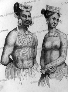Larik, chief of Romanzoff and woman of Saltikoff, Marshall Islands, Victor Marie Felix Danvin, 1836 | Photos and Images | Travel