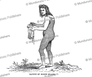 fully tattooed man of makin island, gilbert islands, charles wilkes, 1845
