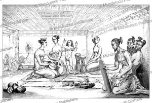 interior of a radak house, victor marie felix danvin, 1828