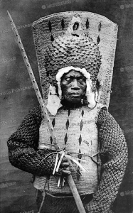 warrior of nauru island in war costume, hollobon, 1915