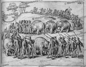 festive procession in pegu (burma), theodor de bry, 1619