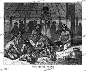 tattooing-day in samoa, johann baptist zwecker, 1870